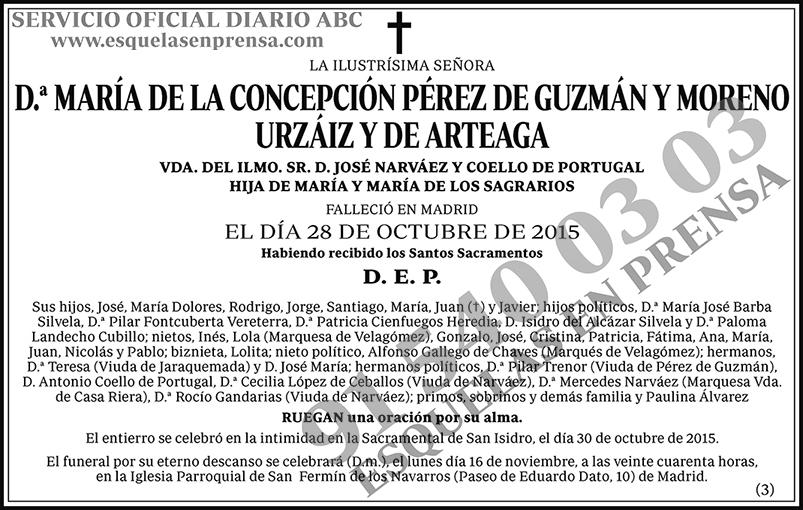 María de la Concepción Pérez de Guzmán y Moreno Urzáiz y de Arteaga